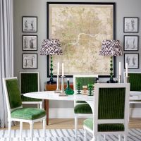 A Green and Gray Dining Room With An Eclectic Mix